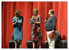 Francesca Pugliese, Lucia Bocca Montefoschi e Giancarlo Magalli alla presentazione sella stagione 2015-2016