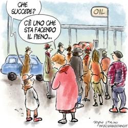 NL33 - prezzi benzina - vignetta-oil-sergio-staino