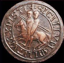 Sigillo raffigurante due cavalieri su un unico cavallo