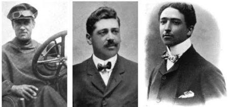 Da sinistra Scipione Borghese, Ettore Guizzardi e Luigi Barzini