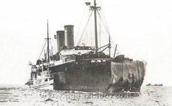Piroscafo Florida con prora danneggiata da collisione con Republic nel 1909. Foto dall'agenzia Bozzo